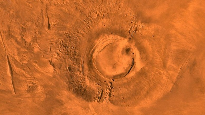 This digital-image mosaic of Mars' Tharsis plateau shows the extinct volcano Arsia Mons. It was assembled from images that the Viking 1 Orbiter took during its 1976-1980 working life at Mars. Credit NASA/JPL/USGS