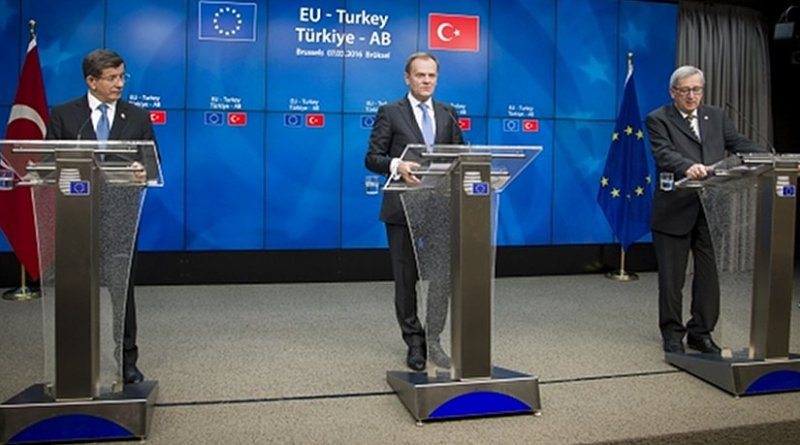 From left to right: Mr Ahmet Davutoglu, Prime Minister of Turkey; Mr Donald Tusk, President of the European Council; Mr Jean-Claude Juncker, President of the European Commission. Photo Credit: The European Union, Brussels, 07/03/2016