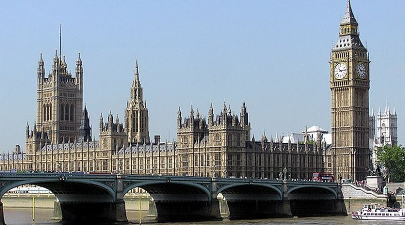 Palace of Westminster, London, United Kingdom. Photo by Adrian Pingstone, Wikipedia Commons.