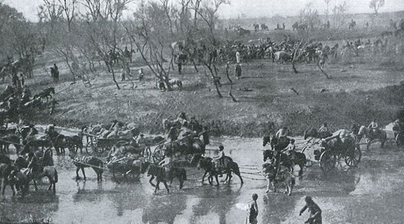 Retreat of Russian soldiers after the Battle of Mukden. Photo by P. F. Collier & Son - Russo-Japanese War, Wikipedia Commons.