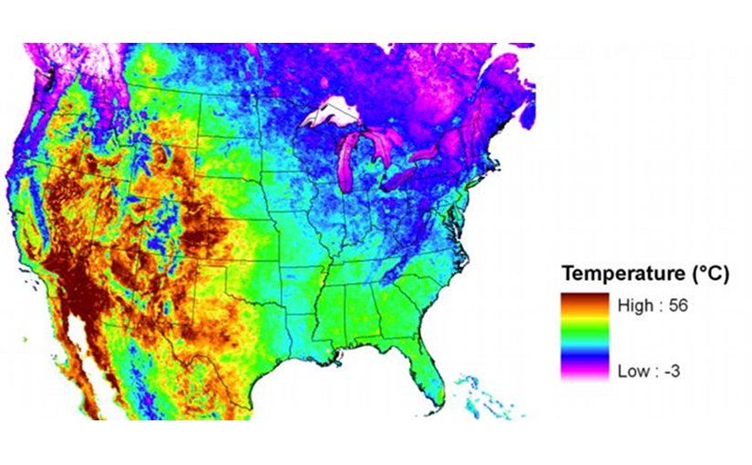 This is an image from NASA's Moderate Resolution Imaging Spectroradiometer showing hotter than normal daytime land surface temperatures over much of the Southwest United States July 1-8, 2001. Credit NASA