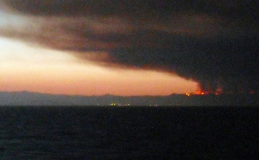 Wildfire in Mojácar, Spain. Photo by Jolly Janner, Wikipedia Commons.