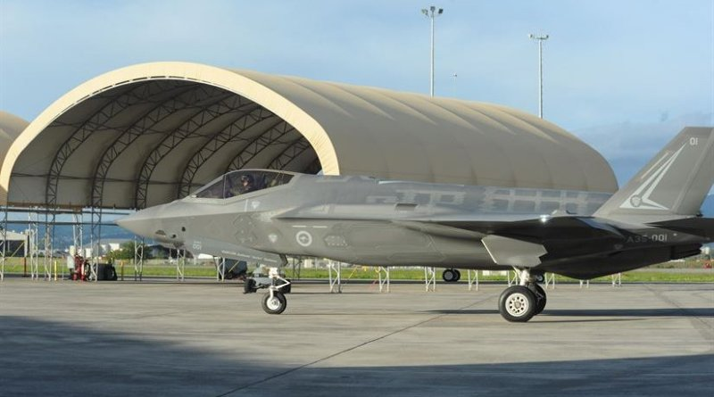 Two Australian F-35A Lightning II joint strike fighters arrive on the Hickam Air Force Base ramp at Joint Base Pearl Harbor-Hickam, Hawaii, Feb. 23, 2017. Hickam was the last stop en route to the Avalon air show in Victoria, Australia. Air Force photo by Capt. Nicole White