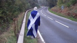 Man wearing flag of Scotland
