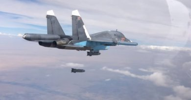 A Russian Su-34 conducting an airstrike in Syria. Source: Mil.ru, Wikipedia Commons.