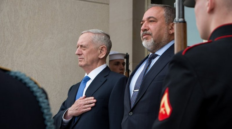 Secretary of Defense Jim Mattis meets with Israel's defense minister, Avigdor Lieberman, at the Pentagon in Washington, D.C., March 7, 2017. (DOD photo by U.S. Air Force Staff Sgt. Jette Carr)
