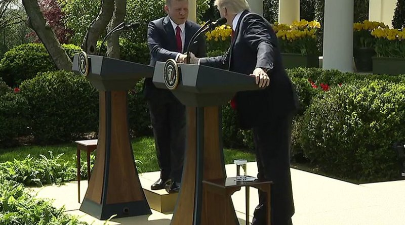 President Trump and His Majesty King Abdullah II of Jordan in Joint Press Conference. Photo Credit: White House video screenshot.