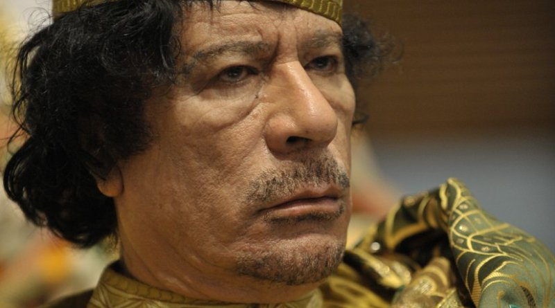 Libya's Muammar al-Gaddafi. U.S. Navy photo by Mass Communication Specialist 2nd Class Jesse B. Awalt