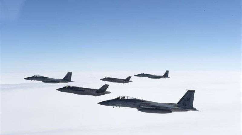 Two Air Force F-35A Lightning IIs from the 388th Fighter Squadron and three F-15C Eagles from the 493rd Fighter Squadron fly in formation during a training sortie over the United Kingdom, April 27, 2017. The F-35As first arrived at Royal Air Force Lakenheath, England, April 15, from Hill Air Force Base, Utah, marking the aircraft's first flying training deployment to Europe. Air Force photo by Tech. Sgt. Roidan Carlson