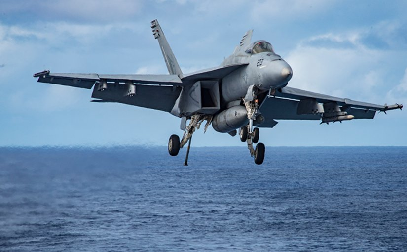 "An F/A-18E Super Hornet assigned to the ""Kestrels"" of Strike Fighter Squadron (VFA) 137 prepares to make an arrested landing aboard the aircraft carrier USS Carl Vinson (CVN 70). The ship's carrier strike group is on a western Pacific deployment as part of the U.S. Pacific Fleet-led initiative to extend the command and control functions of U.S. 3rd Fleet. (U.S. Navy photo by Mass Communication Specialist 2nd Class Sean M. Castellano/Released)"