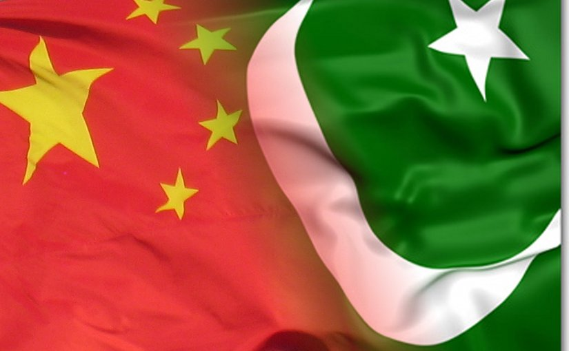 Flags of China and Pakistan.