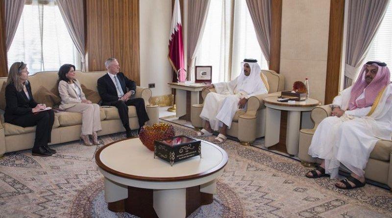 Defense Secretary Jim Mattis meets with Qatar's Emir Sheikh Tamim bin Hamad Al Thani at the Sea Palace in Doha, Qatar, April 22, 2017. Sitting to Mattis' left is his advisor, Sally Donnelly, and Dana Smith, U.S. ambassador to Qatar. DoD photo by Air Force Tech. Sgt. Brigitte N. Brantley