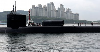 The Ohio-class guided-missile submarine USS Michigan arrives in Busan, South Korea for a scheduled port visit while conducting routine patrols throughout the western Pacific. U.S. Navy photo by Mass Communication Specialist 2nd Class Jermaine Ralliford/Released)