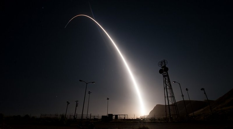 An unarmed Minuteman III intercontinental ballistic missile launches during an operational test April 26, 2017, from Vandenberg Air Force Base, Calif. The Minuteman system has been in service for 60 years. Through continuous upgrades, including new production versions, improved targeting systems, and enhanced accuracy, today's Minuteman system remains state of the art and is capable of meeting all modern challenges. (U.S. Air Force photo/Senior Airman Ian Dudley)