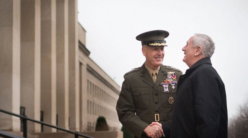 US Secretary of Defense James Mattis is greeted by Chairman of the Joint Chiefs of Staff, Gen. Joseph F. Dunford Jr. Photo taken by Department of Defense's D. Myles Cullen, Wikimedia Commons.