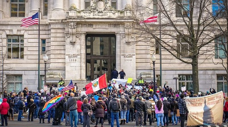 """""""A Day Without Immigrants"""" demonstrators in front of the John A. Wilson Building in Washington, D.C. Photo by Ted Eytan, Wikipedia Commons."""