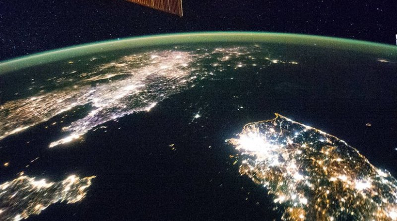 Korean Peninsula seen from Space Station. North Korea's capital city, Pyongyang, appears like a small island. Credit: NASA