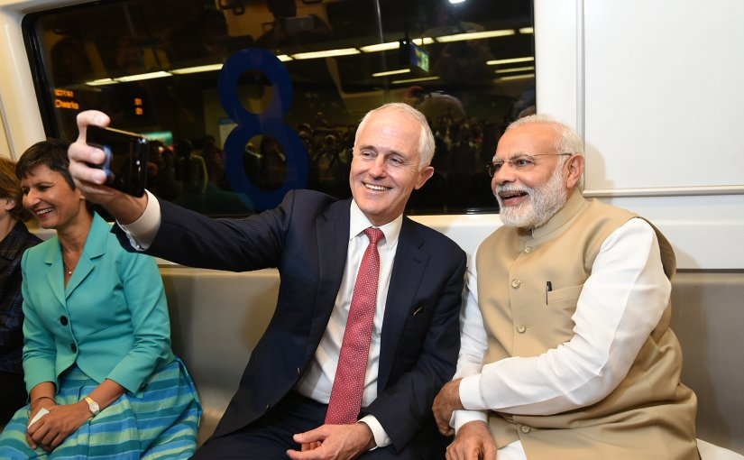 India's PM Narendra Modi and Australian PM Malcolm Turnbull take a metro ride to Akshardham Temple. Photo Credit: India's PM Office.