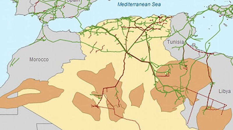 Algeria's oil and natural gas basins and pipeline infrastructure. Credit: U.S. Energy Information Administration, IHS EDIN, and Advanced Resources International