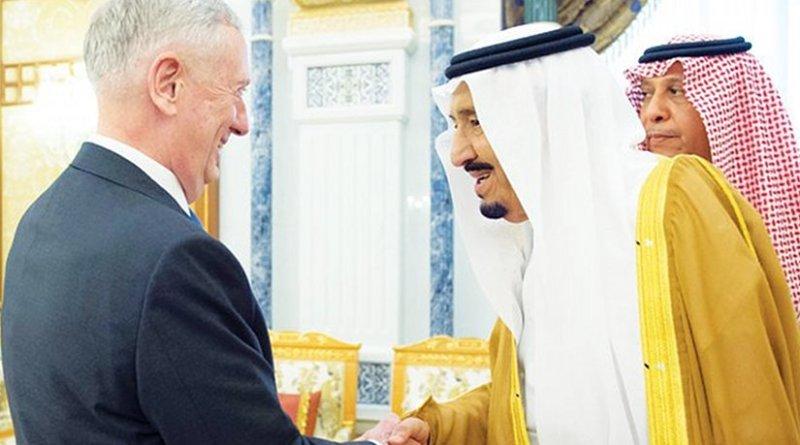 Saudi Arabia's King Salman receives US Defense Secretary Jim Mattis. Photo Credit: SPA