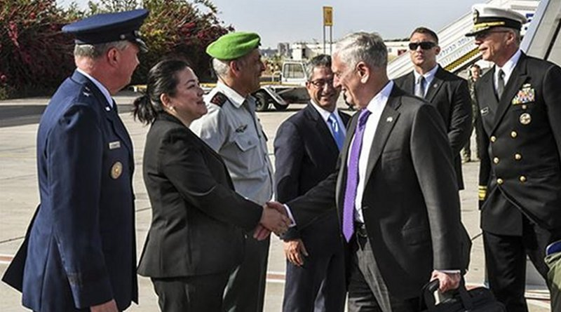 US Defense Secretary Jim Mattis arrives at Israel's Ben Gurion Airport, April 20, 2017. U.S. Embassy Tel Aviv photo by Matty Stern