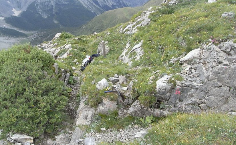 A dark patch of rock on the left marks the Rauchkofel Boden trench, dug in the Cardiola Formation of the Austrian Alps during World War I. Many fossils have been found at the site. Credit Photo courtesy of Annalisa Ferretti, University of Modena and Reggio Emilia.