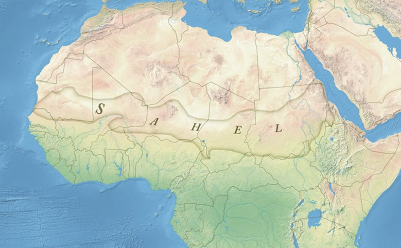 The Sahel region in Africa: a belt up to 1,000 km (620 mi) wide that spans the 5,400 km (3,360 mi) from the Atlantic Ocean to the Red Sea. Source: Wikipedia Commons.