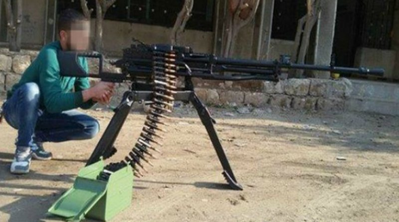 On February 16, Salam, a fighter with the 13th Division of the Free Syrian Army, uploaded this photo of a newly arrived Serbian-made Coyote machine gun to his Facebook timeline.