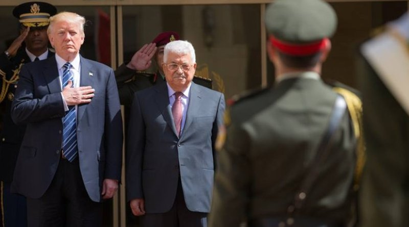 President Donald Trump participates in arrival ceremonies with President Mahmoud Abbas of the Palestinian Authority at the Presidential Palace, Tuesday, May 23, 20217, in Bethlehem. (Official White House Photo by Shealah Craighead)