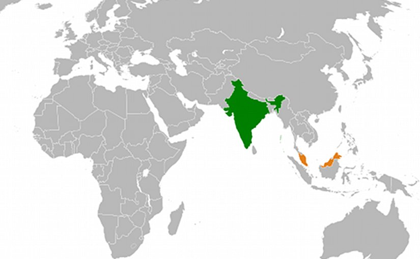 Locations of India and Malaysia. Source: Wikipedia Commons.