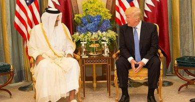 Qatar's Sheikh Tamim bin Hamad Al-Thani meets with US President Donald Trump. Official White House Photo by Shealah Craighead.