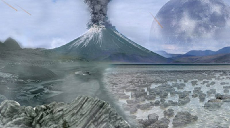 Artist's impression of an Archean landscape. The earliest metabolisms of the Archaea were based on the anaerobic reduction of carbon dioxide, and likely evolved during the earliest period of Earth's evolutionary history.
