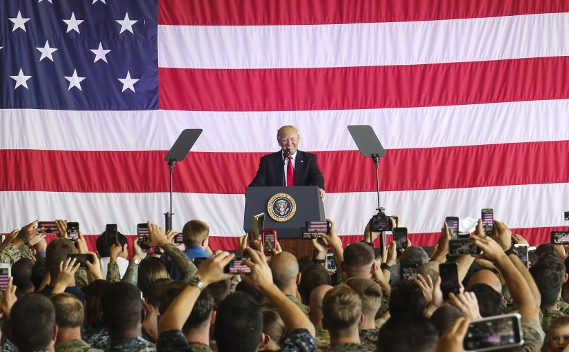 President Donald J. Trump speaks to U.S. service members and their families at Naval Air Station Sigonella, Italy, May 27, 2017. Trump traveled to Sicily to attend the G7 Summit and meet with world leaders. Marine Corps photo by Sgt. Samuel Guerra