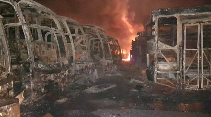 Fifty-four public buses were torched in Ciudad Guyana on May 22. Taken from: @TransBolivar