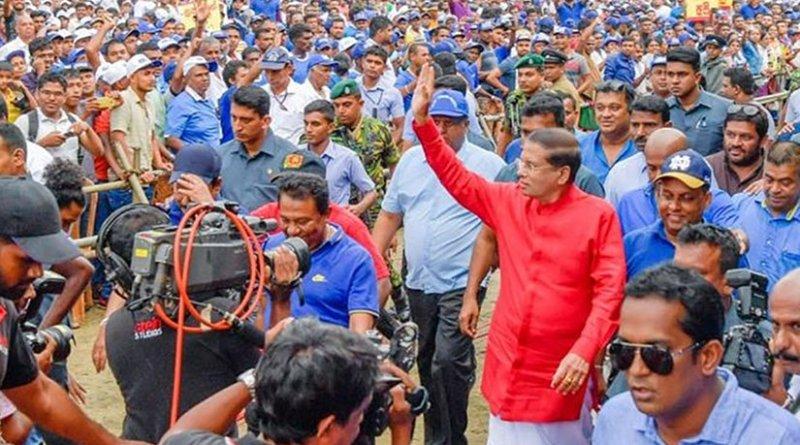 Sri Lanka's President Maithripala Sirisena attends May Day rally. Photo Credit: Sri Lanka Government.