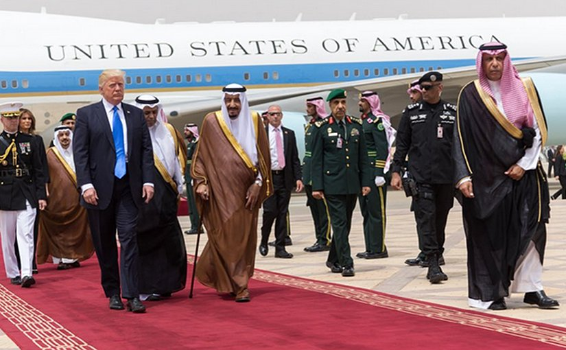 Saudi Arabia's King Salman greets US President Donald Trump. Photo Credit: White House