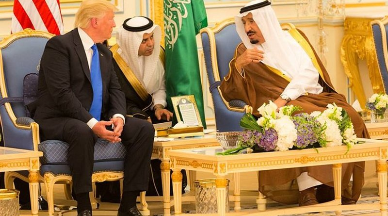 President Donald Trump and King Salman bin Abdulaziz Al Saud of Saudi Arabia talk together during ceremonies, Saturday, May 20, 2017, at the Royal Court Palace in Riyadh, Saudi Arabia. (Official White House Photo Shealah Craighead)