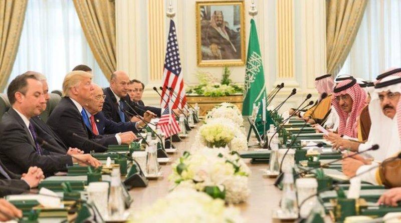President Donald Trump and members of the U.S. delegation participate, Saturday, May 20, 2017, in a bilateral meeting with King Salman bin Abdulaziz Al Saud and Saudi Arabia officials at the Royal Court Palace in Riyadh, Saudi Arabia. (Official White House photo by Shealah Craighead)