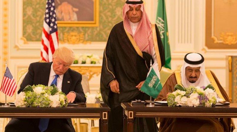 President Donald Trump and King Salman bin Abdulaziz Al Saud of Saudi Arabia sign a Joint Strategic Vision Statement for the United States and the Kingdom of Saudi Arabia, during ceremonies, Saturday, May 20, 2017, at the Royal Court Palace in Riyadh, Saudi Arabia. (Official White House Photo Shealah Craighead