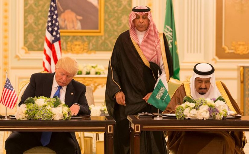 President Donald Trump and King Salman bin Abdulaziz Al Saud of Saudi Arabia sign a Joint Strategic Vision Statement for the United States and the Kingdom of Saudi Arabia, during ceremonies, Saturday, May 20, 2017, at the Royal Court Palace in Riyadh, Saudi Arabia. (Official White House Photo Shealah Craighead