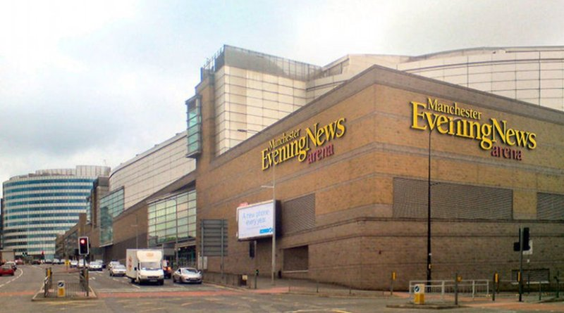 File photo of Manchester Evening News Arena, near to Manchester, Great Britain. Photo by David Dixon, Wikipedia Commons.