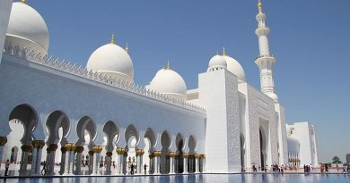 "The Sheikh Mohammed bin Zayed Mosque in Abu Dhabi, United Arab Emirates, renamed ""Mary, mother of Jesus"" Mosque. Photo by FritzDaCat, Wikipedia Commons."