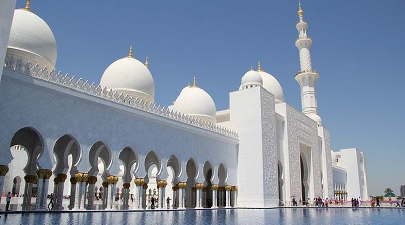 """The Sheikh Mohammed bin Zayed Mosque in Abu Dhabi, United Arab Emirates, renamed """"Mary, mother of Jesus"""" Mosque. Photo by FritzDaCat, Wikipedia Commons."""