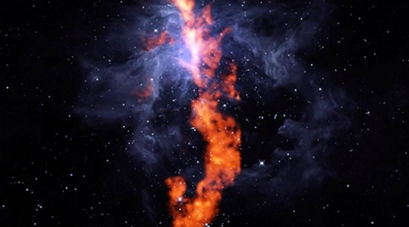 In this composite image combining GBT radio and WISE infrared observations, the filament of ammonia molecules appears red and Orion Nebula gas appears blue. Credit Image: R. Friesen, Dunlap Institute; J. Pineda, MPIP; GBO/AUI/NSF