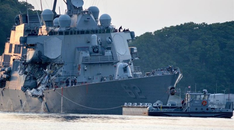 The Arleigh Burke-class guided-missile destroyer USS Fitzgerald returns to Fleet Activities Yokosuka following a collision with a merchant vessel while operating southwest of Yokosuka, Japan, June 17, 2017. Navy photo by Petty Officer 1st Class Peter Burghart