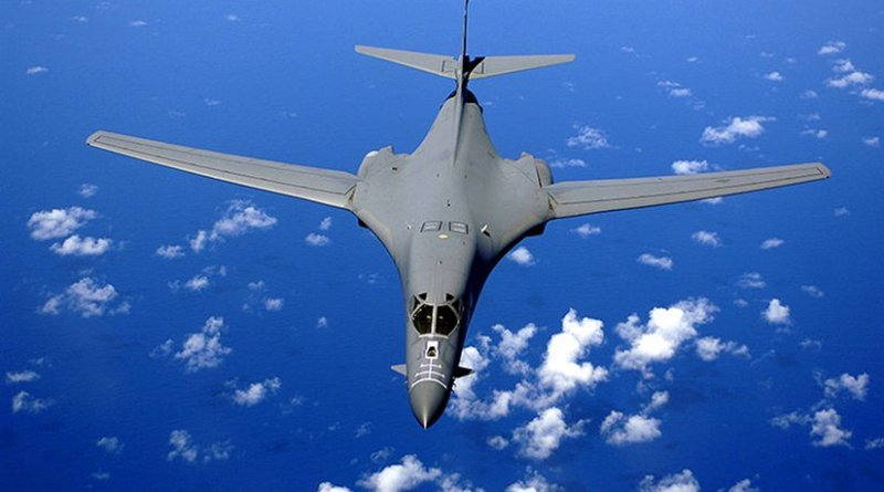 File photo of a B-1B flying over the Pacific Ocean. United States Air Force photo by Staff Sgt. Bennie J. Davis III, Wikipedia Commons.
