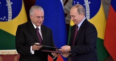Russia's President Vladimir Putin with President of Brazil Michel Temer. Photo Credit: Kremlin.ru