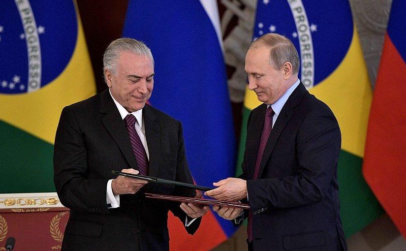 Russia's President Vladimir Putin with President of Brazil Michel Temer. Photo Credit: Kremlin.ru