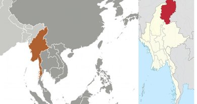 Location of Kachin State in Burma (Myanmar). Source: CIA World Factbook and Wikipedia Commons.