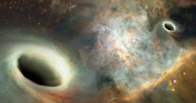 Artist's conception shows two supermassive black holes, similar to those observed by UNM researchers, orbiting one another more than 750 million light years from Earth. Credit Joshua Valenzuela/UNM